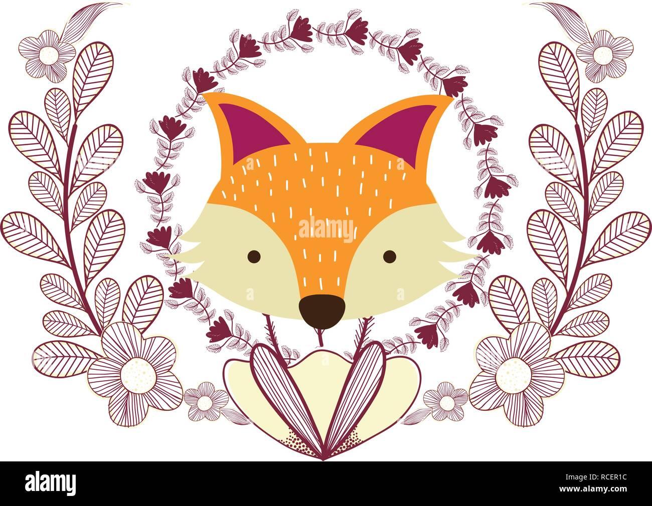 fox only face - Stock Vector