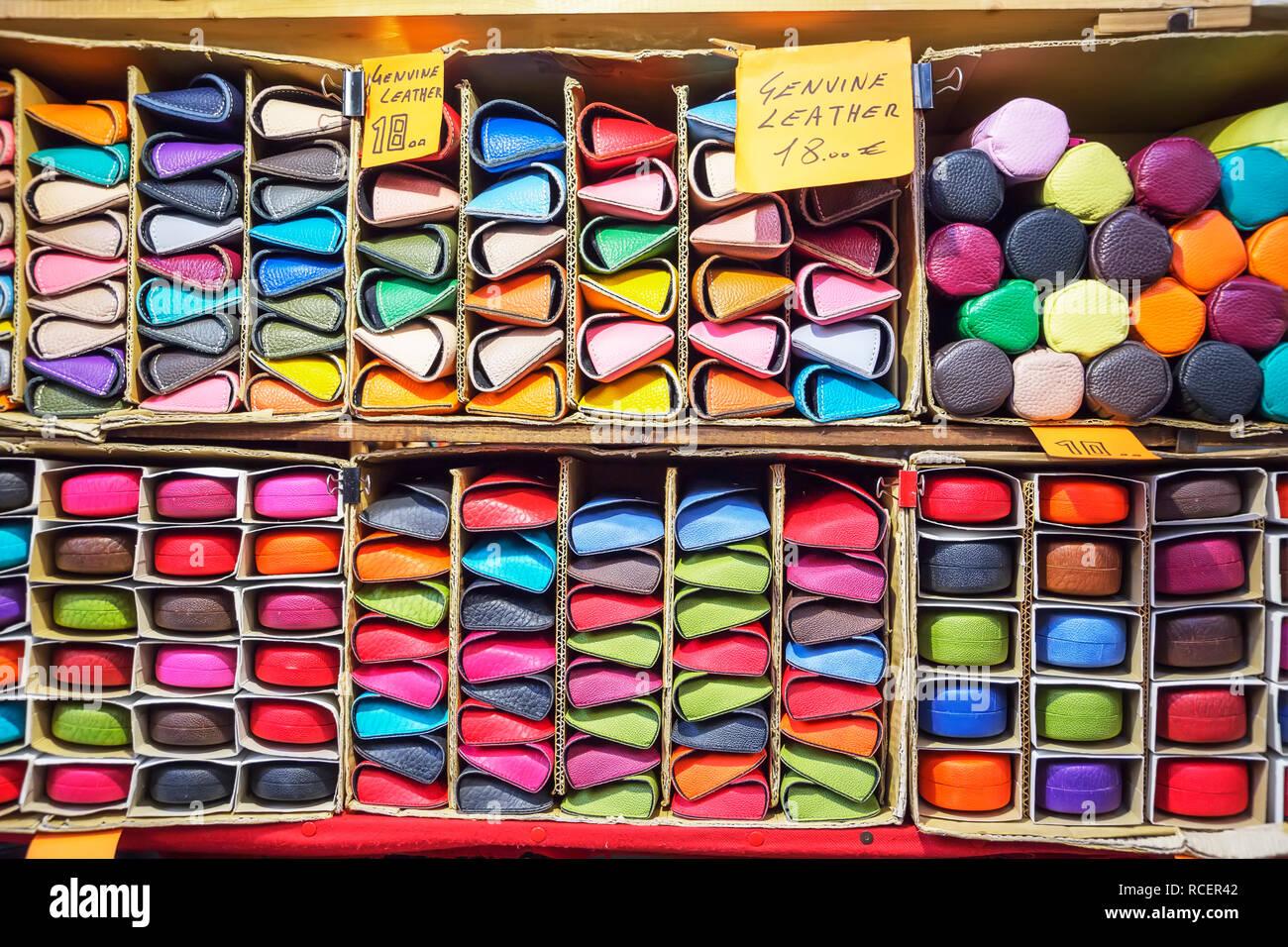 Italian leather goods, Mercato Nuovo, Florence, Tuscany, Italy, Europe Stock Photo