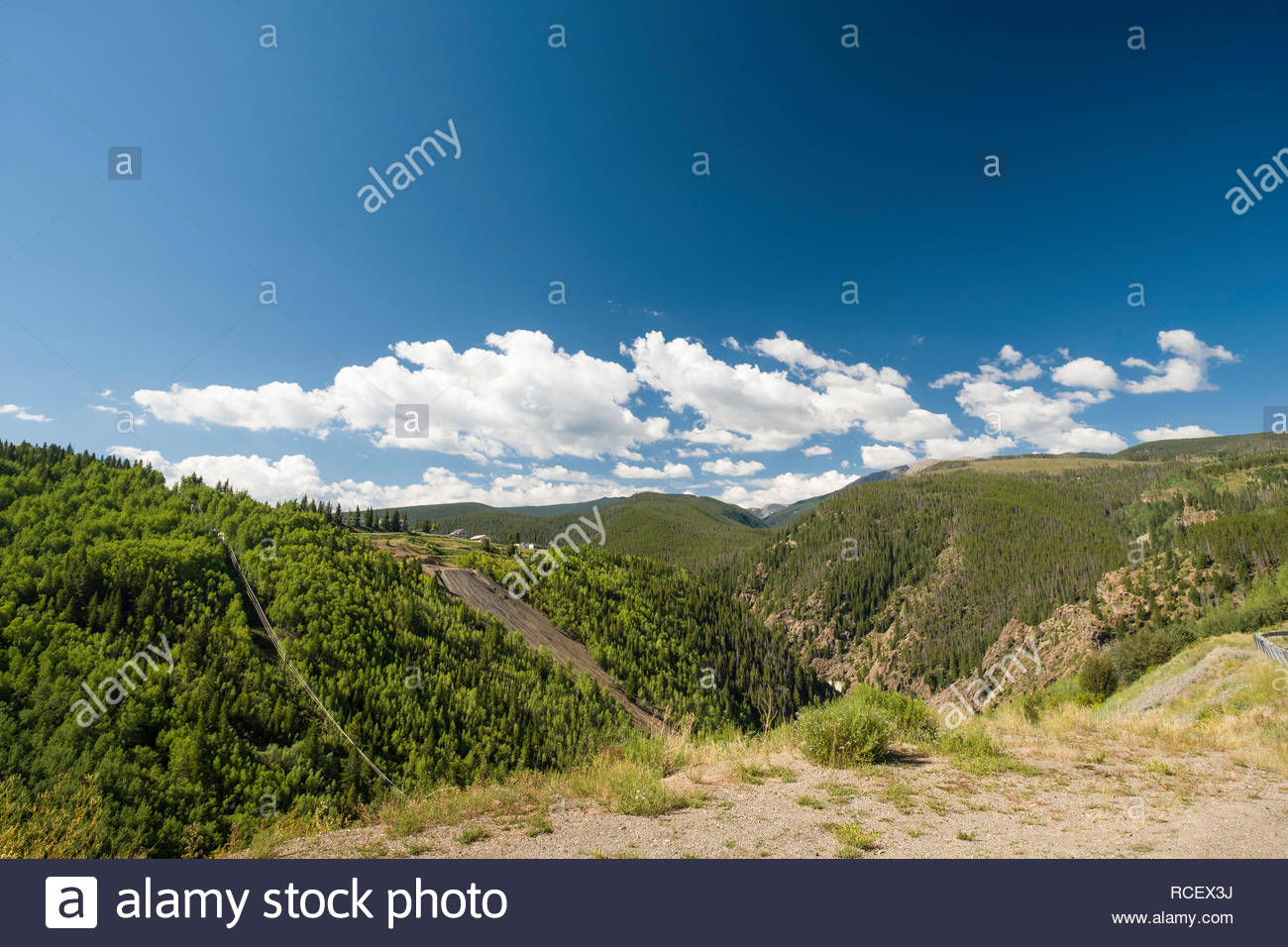 Dilapidate buildings in Gilman an abandoned mining town because of toxic pollutants, including contamination of the ground water, Eagle County, Colora - Stock Image