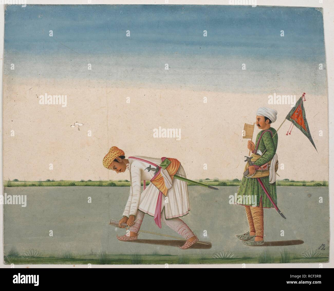 Two Indian men measuring land for revenue purposes. One bending down and using tape. . Two men measuring land for revenue purposes. 1780 - 1790. Watercolour. Source: Add.Or.1020. Author: ANON. - Stock Image