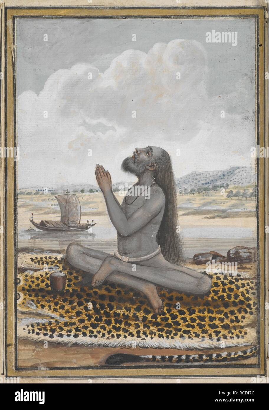 A member of the Agas Maghi sect. The members of this sect are not allowed to shave their hair or beards. They either covered their body with ash or wore colourful cloths. A painting from a nineteenth century manuscript of Fuqara'-i Hind, a text describing the different Hindu religious sects. Fuqara'-i Hind. early 19th century. Source: I.O. ISLAMIC 4777, f.77. Language: Persian. Stock Photo