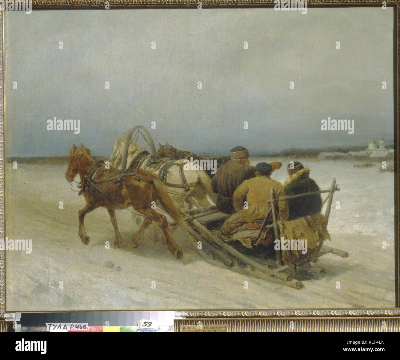 Troika in Winter. Museum: State Art Museum, Tula. Author: Sokolov, Pyotr Petrovich. Stock Photo