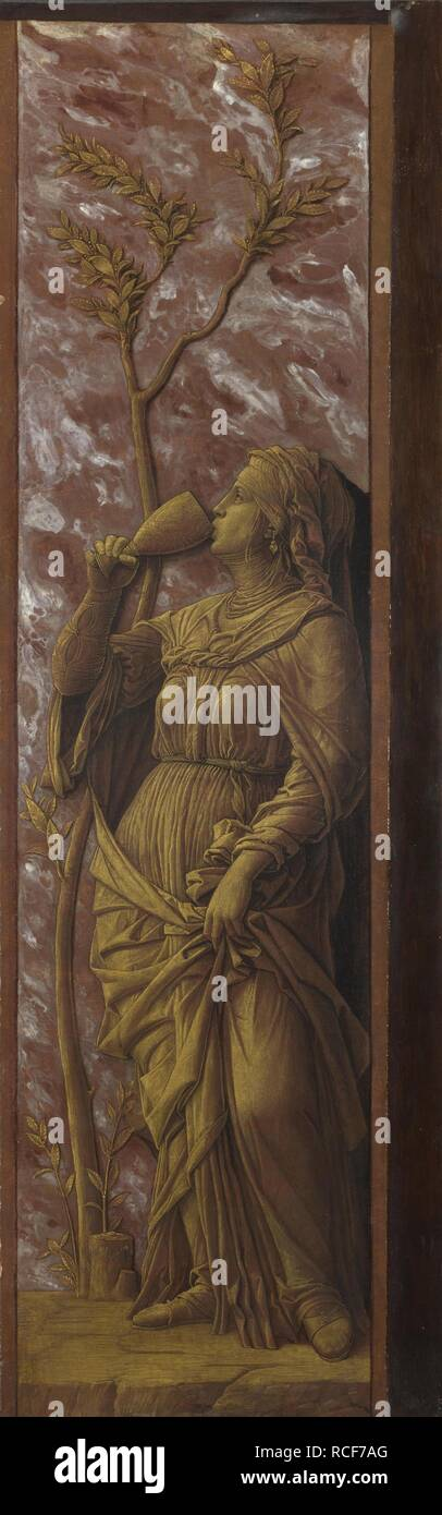 A Woman Drinking. Museum: National Gallery, London. Author: MANTEGNA, ANDREA. Stock Photo