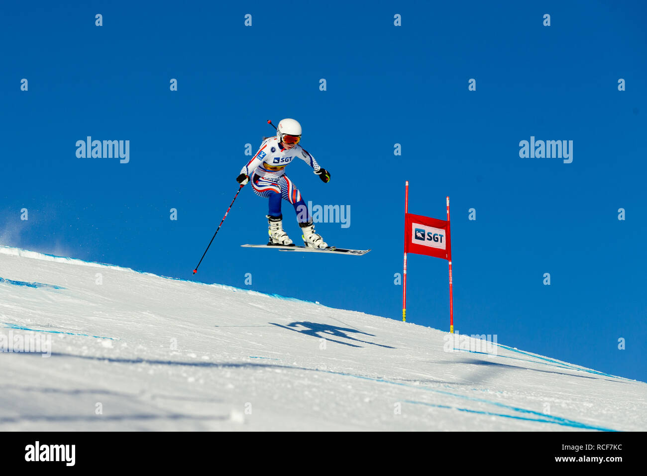 Magnitogorsk, Russia - December 18, 2018: women athlete racer in downhill skiing during National championship alpine skiing - Stock Image