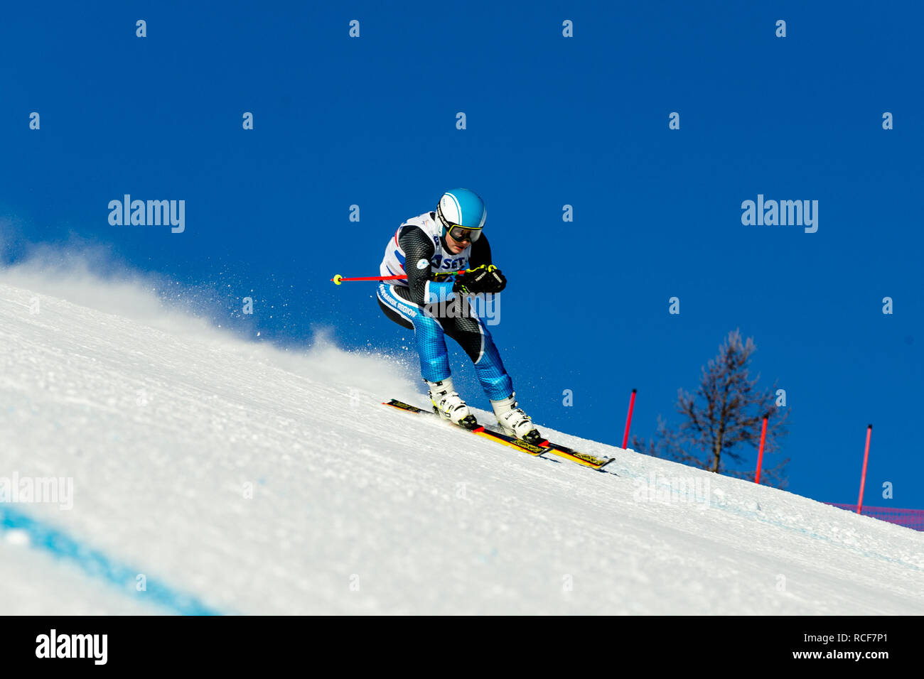 Magnitogorsk, Russia - December 18, 2018: men athlete racer in downhill skiing during National championship alpine skiing - Stock Image