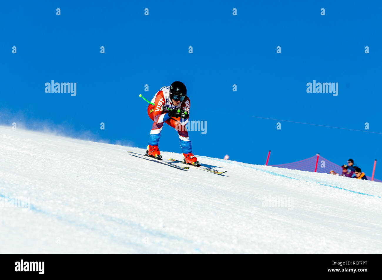 Magnitogorsk, Russia - December 19, 2018: men athlete racer in downhill skiing during National championship alpine skiing - Stock Image