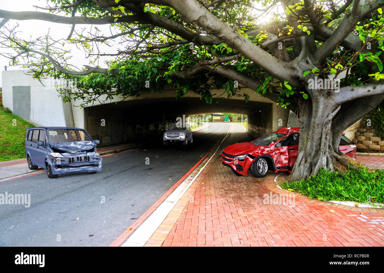 Two cars accident. Crashed cars on the road on location. A red sedan against a tree after collision with a gret van. - Stock Image