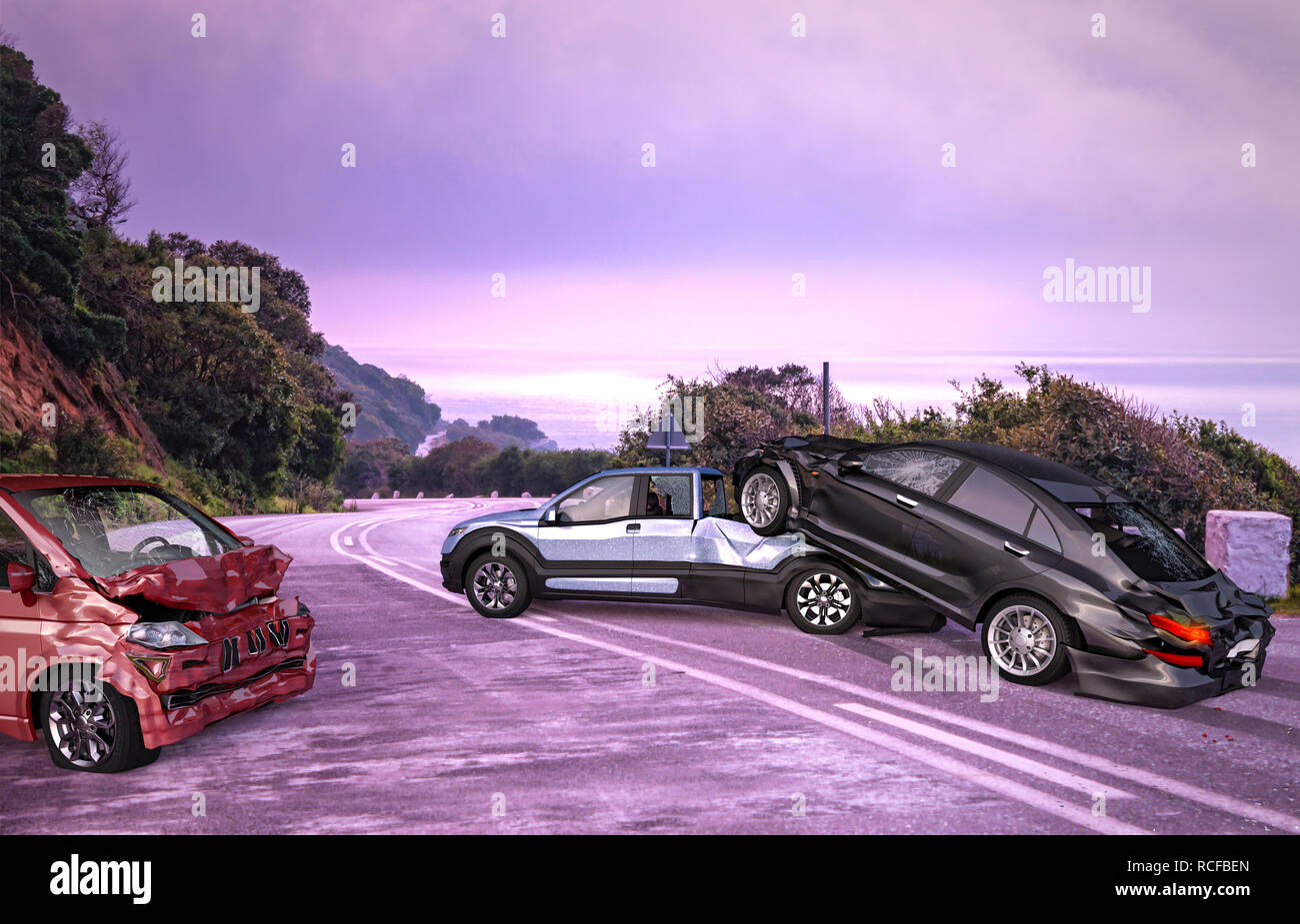 Three cars accident. A van, a pick up and a luxury sedan crashed on the road on location with environment. - Stock Image