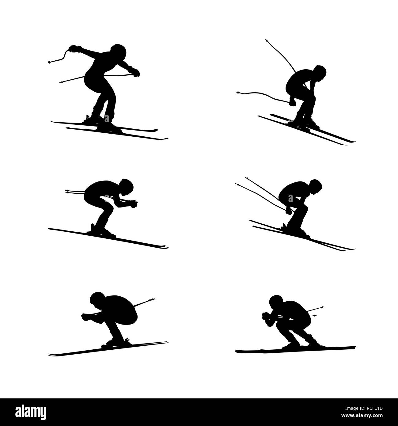 set group alpine skiing sport men downhill - Stock Image