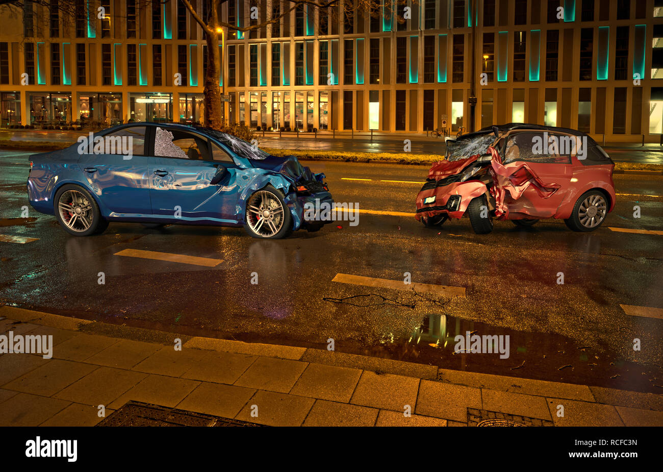 Two cars accident. Crashed cars on the road on city location at night time. A blue sedan against a red city car. Frontal collision with big damages. - Stock Image