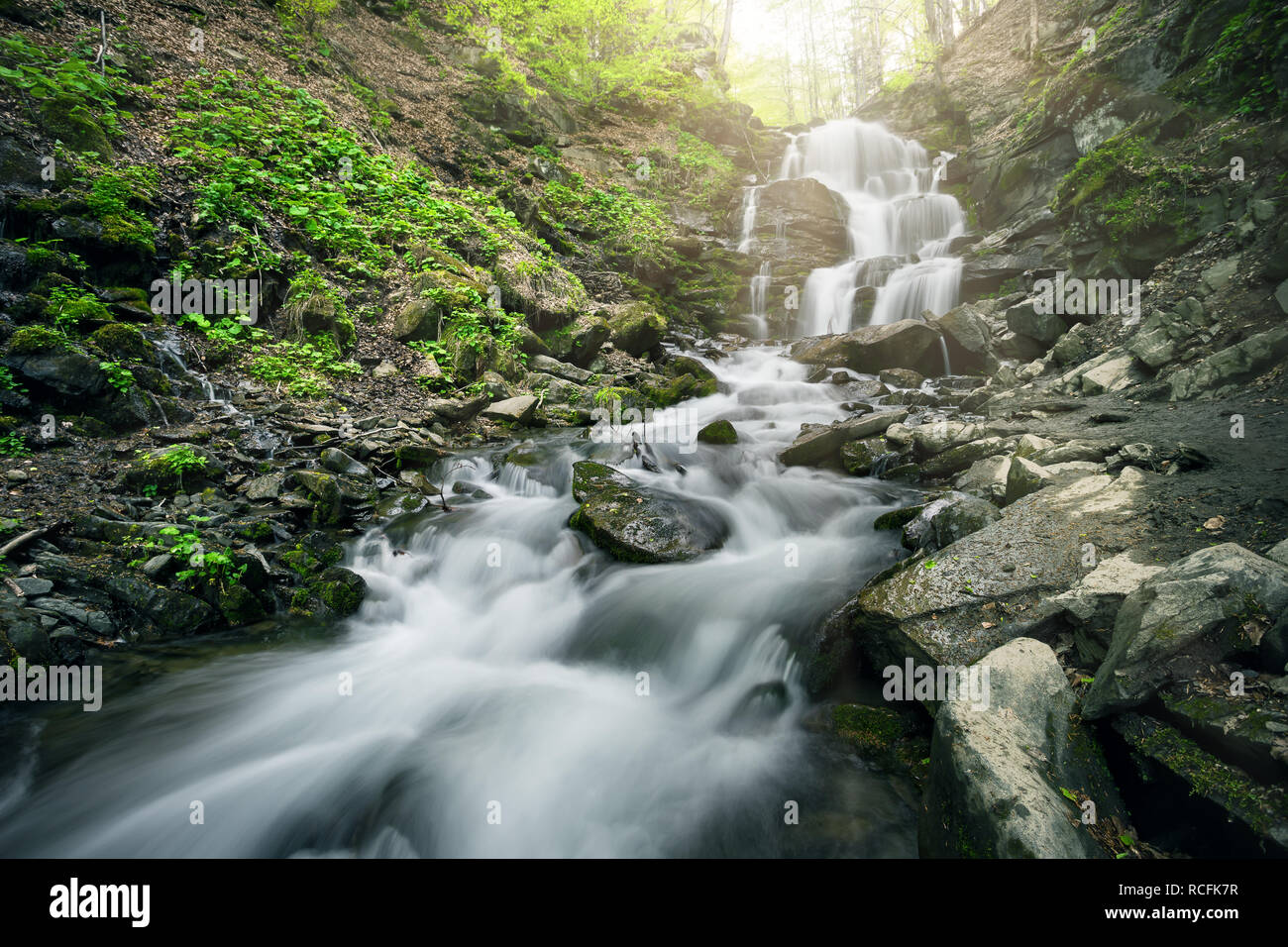Waterfall in the forest among black stones - Stock Image
