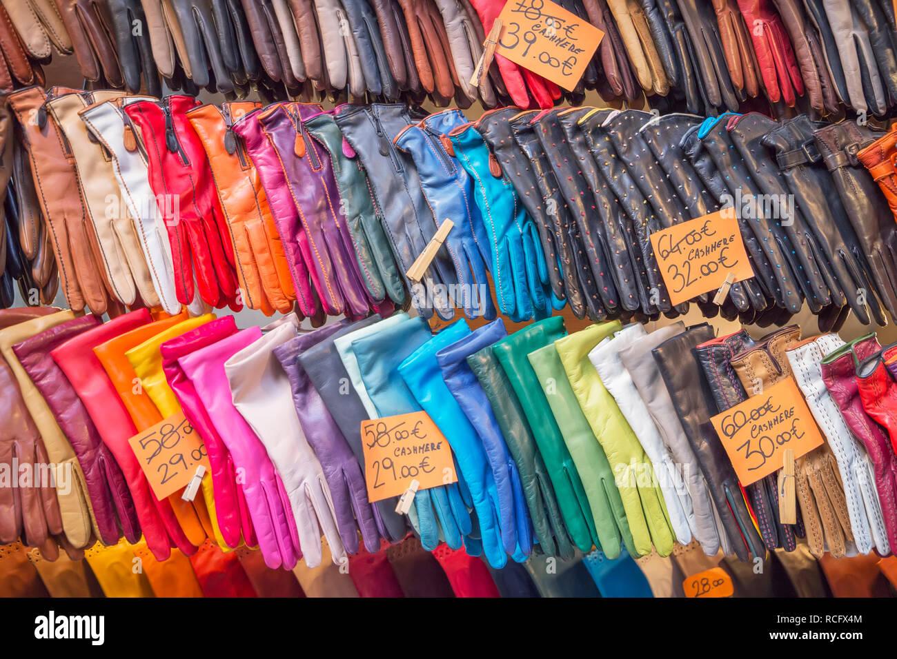 Italian leather goods, Mercato Nuovo, Florence, Tuscany, Italy, Europe - Stock Image