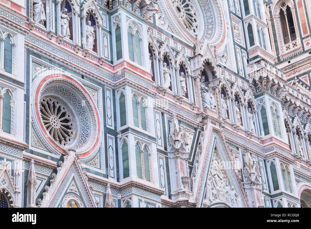 Duomo Santa Maria del Fiore facade, Florence, Tuscany, Italy, Europe - Stock Image