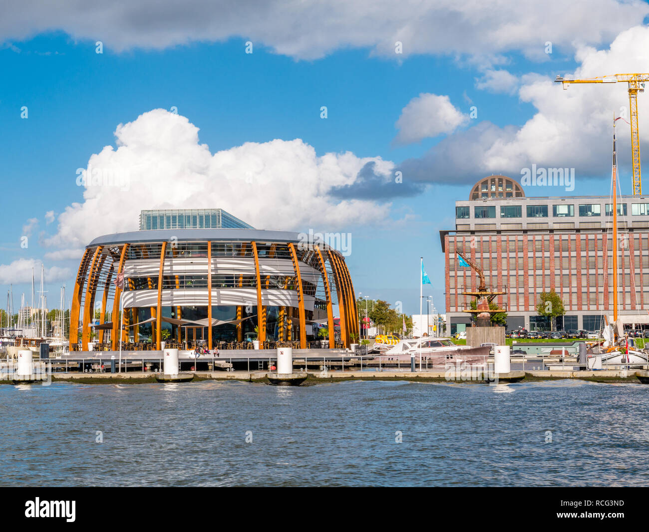 Amsterdam marina and NDSM wharf on northern bank of IJ river in Amsterdam, Netherlands - Stock Image