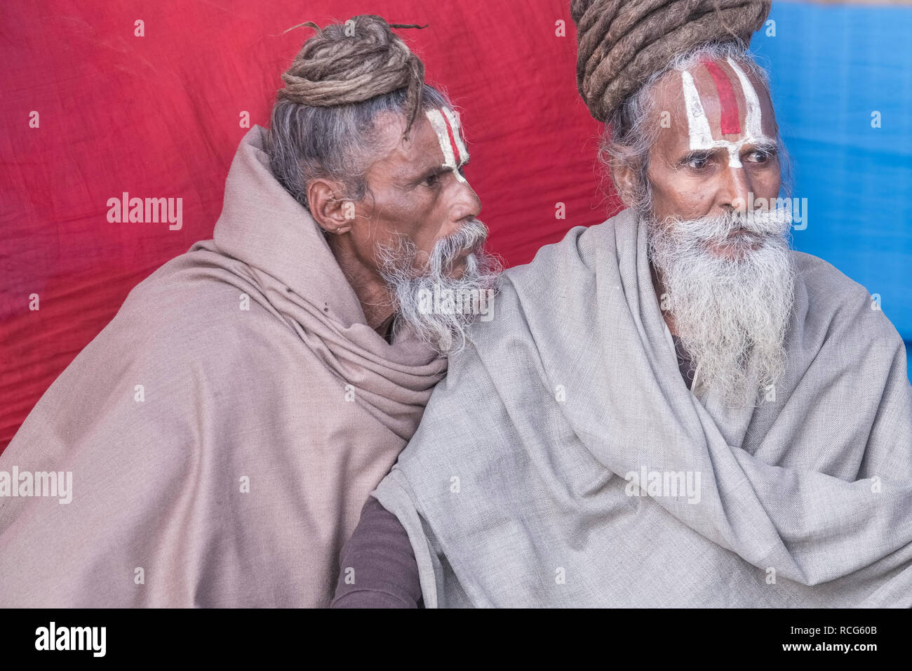 Gangasagar,transit ,camp,two Indian Sadus,discussing,seriously,mela ground, Kolkata,India. - Stock Image