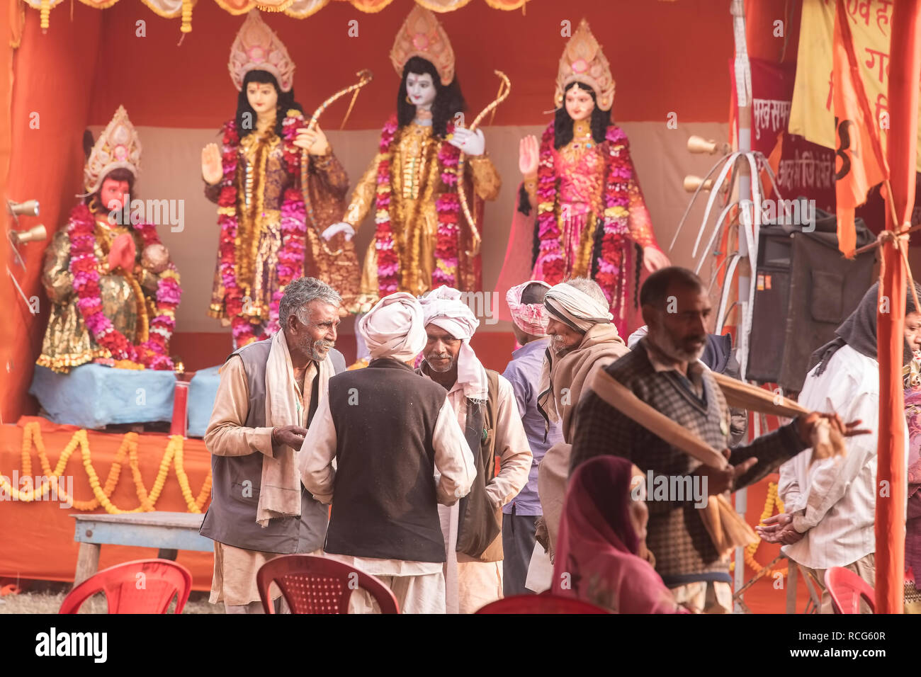 Gangasagar,Transit Camp,Kolkata,God,Lord Rama,Luman,Hanuman,Sita,looking, at visitors,from,Ajoyadha,U.P,who ,merrily,chatting,Kolkata,India. - Stock Image