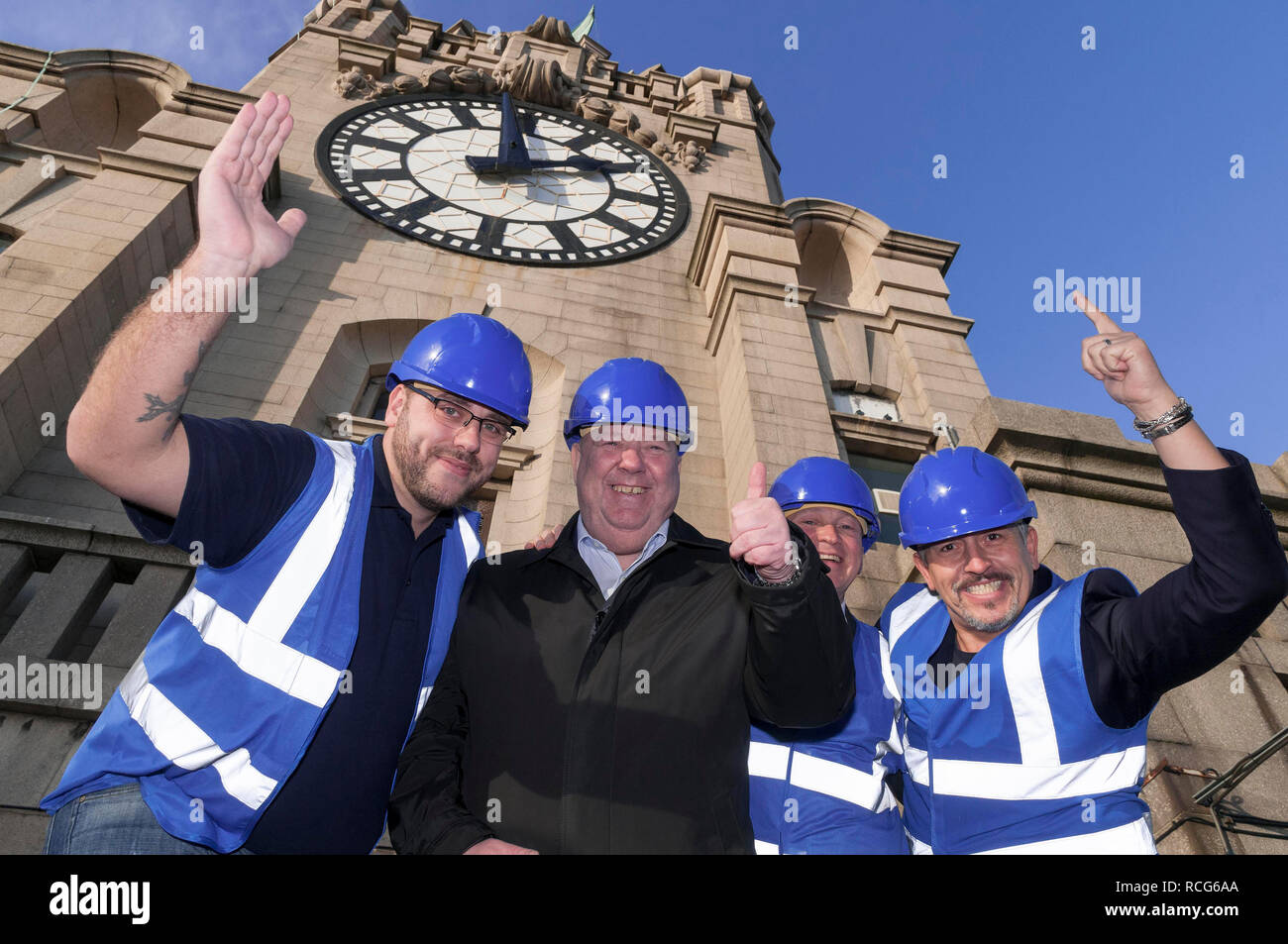 Royal Liver building Heritage Trail  with Joe Anderson. - Stock Image