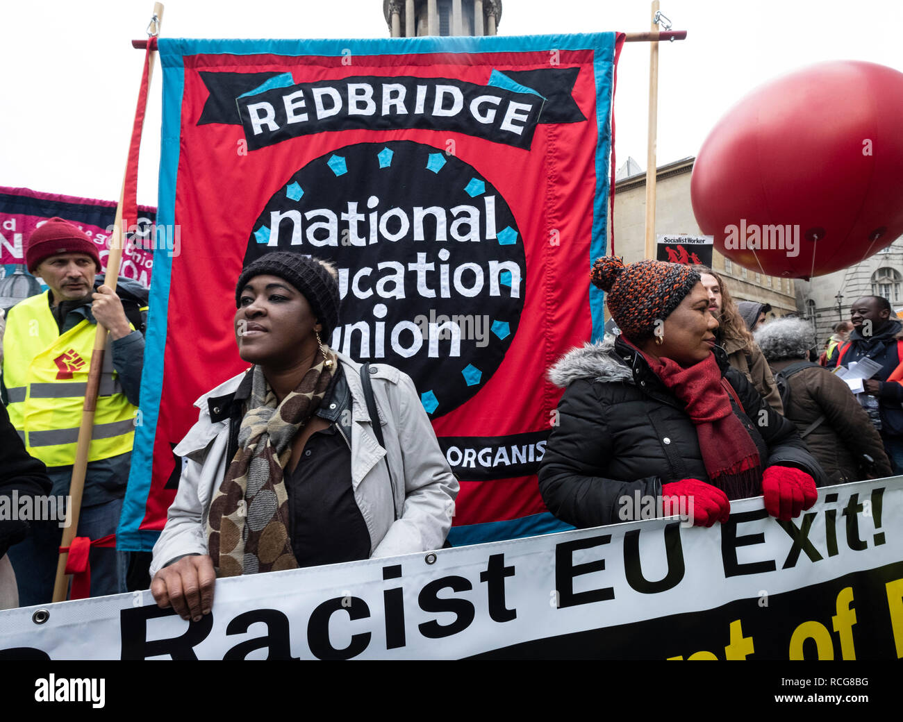 Britain is Broken anti-Brexit march organised by Peoples Assembly marched through London demanding a general election. Protesting against UK government and an end to racism and austerity. Jan 12the 2019 - Stock Image