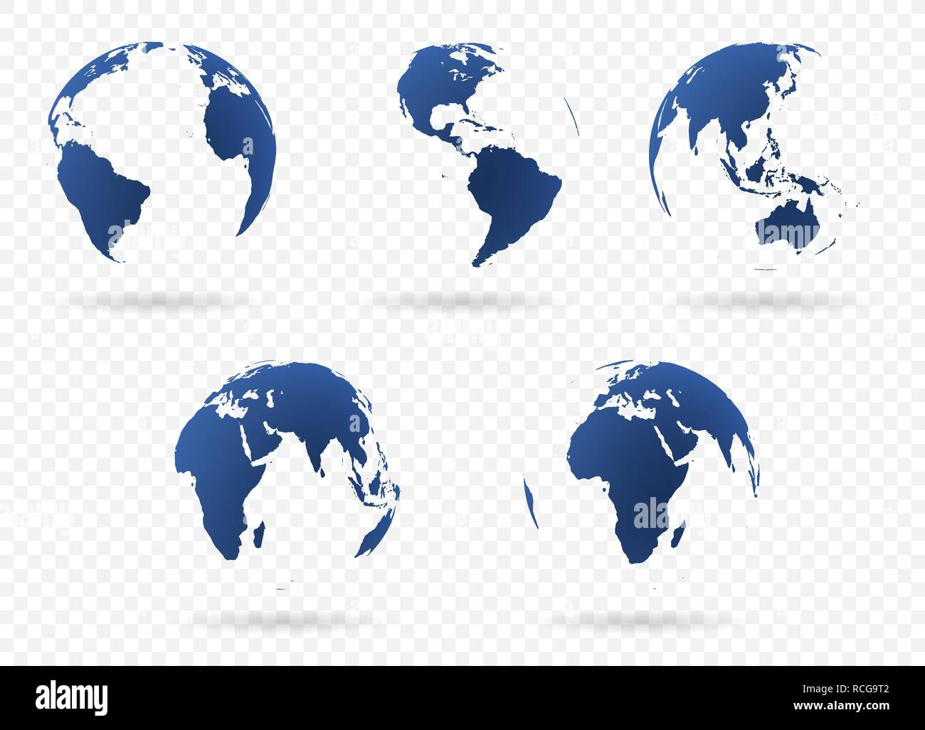 Set of Earth globe icon in different views  Highly detailed