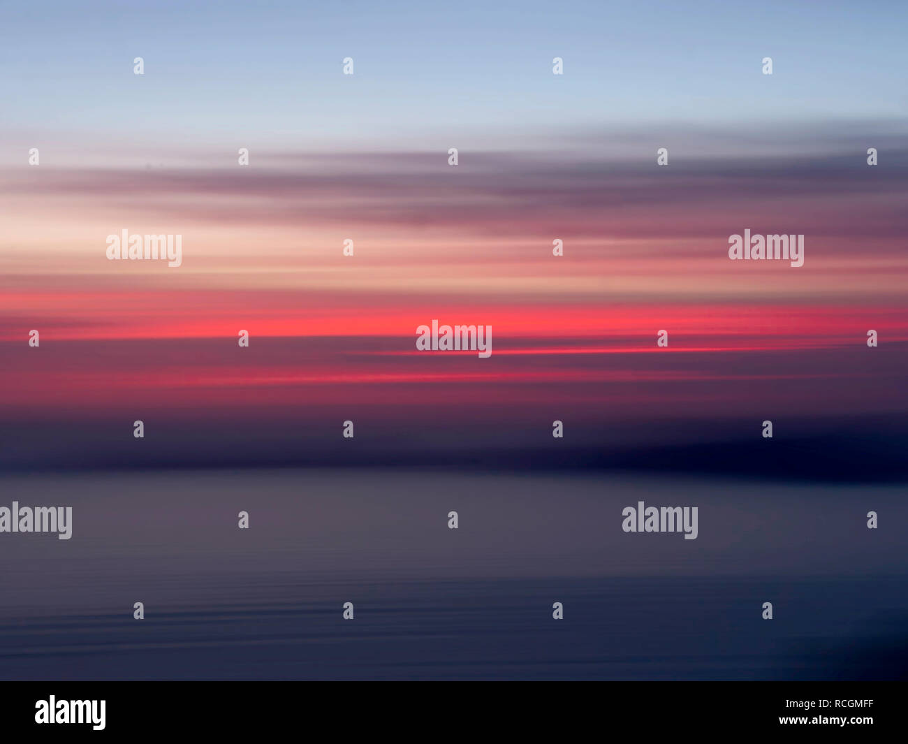 Palmaria sunset, scenic Liguria with intentional camera movement for beautiful blurry effect. Gulf of poets. - Stock Image