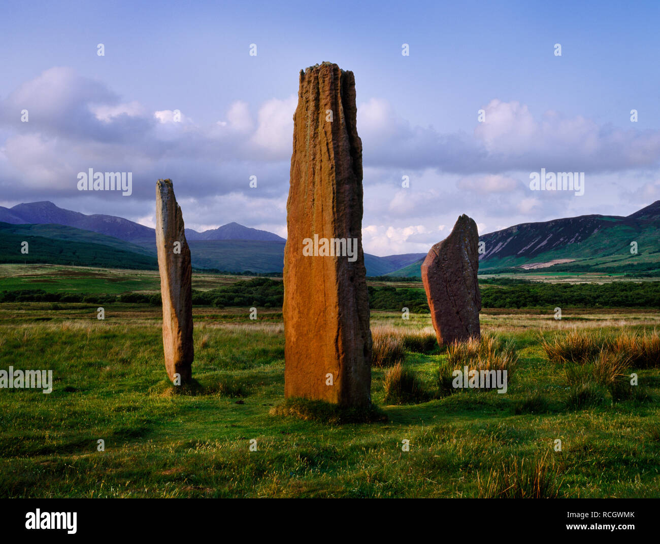 Machrie Moor stone circles, Arran, Scotland, UK: three sandstone slabs of Circle II looking NE to the peak of Goat Fell: part of a Bronze Age complex. Stock Photo