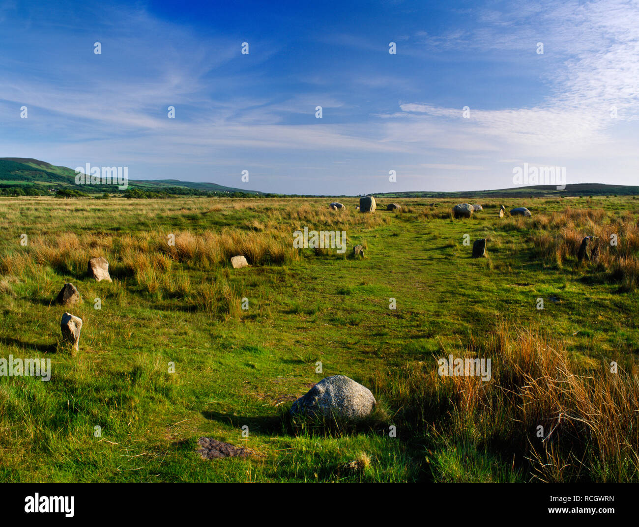 Machrie Moor Bronze Age stone circles, Arran, Scotland, UK: Looking S over the small stones of Circle XI to the boulders & pillars of Circle I. Stock Photo