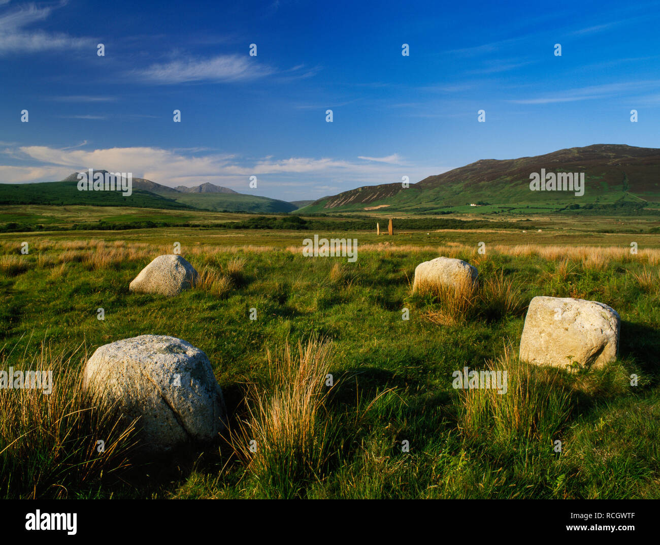 Machrie Moor stone circles, Arran, Scotland, UK: four (there may have been a fifth stone at SW) granite boulders of Circle IV looking NE to Goat Fell. Stock Photo