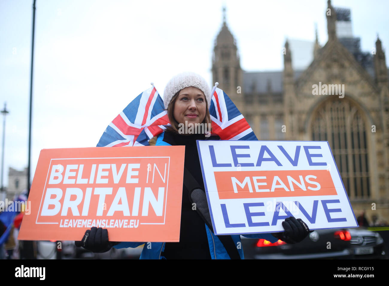 A Brexiteer outside the Houses of Parliament, London, ahead of the House of Commons vote on the Prime Minister's Brexit deal. - Stock Image