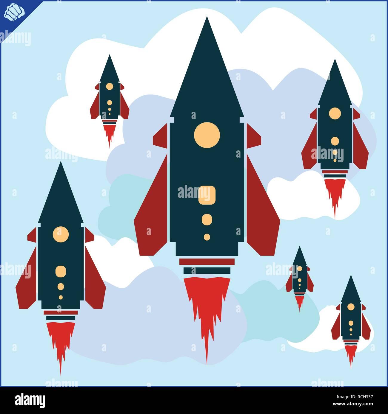 Colored art cartoon rocket jet in cloud blue sky - Stock Vector
