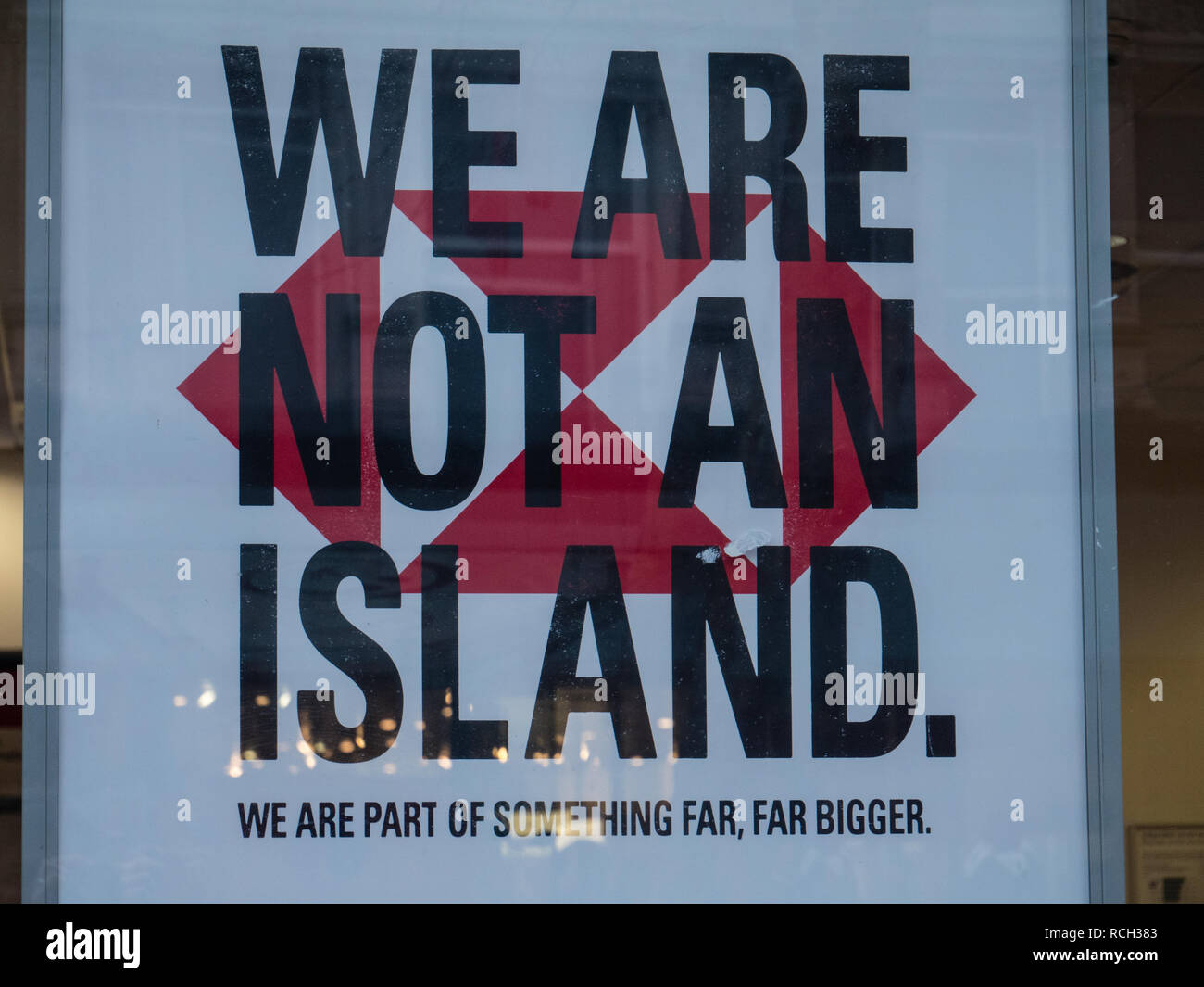 We are not a island HSBC Bank Poster, Accused of Being Pro Brexit, Advertisement, Reading Berkshire, England, UK, GB. Stock Photo