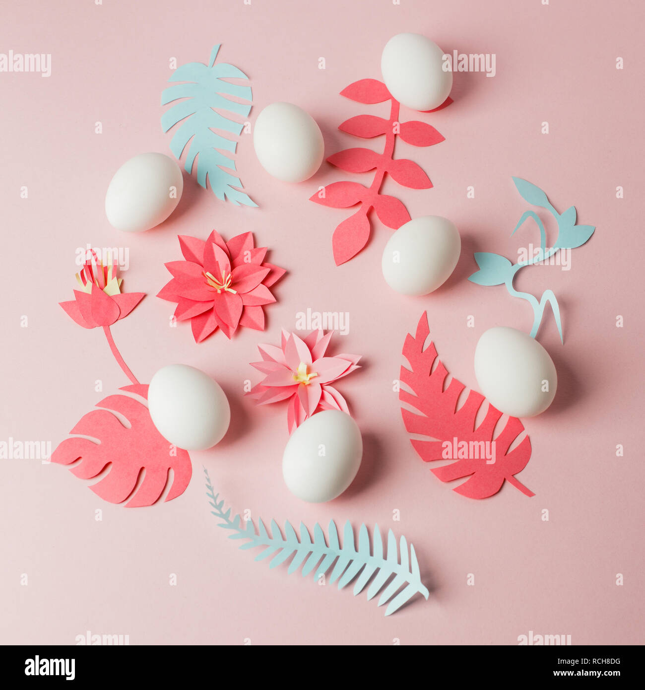 Modern Easter Decor Idea White Eggs And Origami Paper Craft