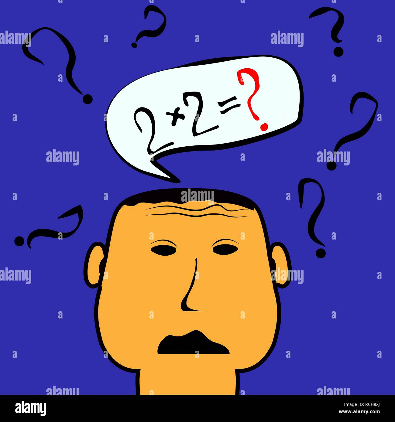 Conceptual image on the topic of education. The young man can not solve the elementary equation - Stock Vector