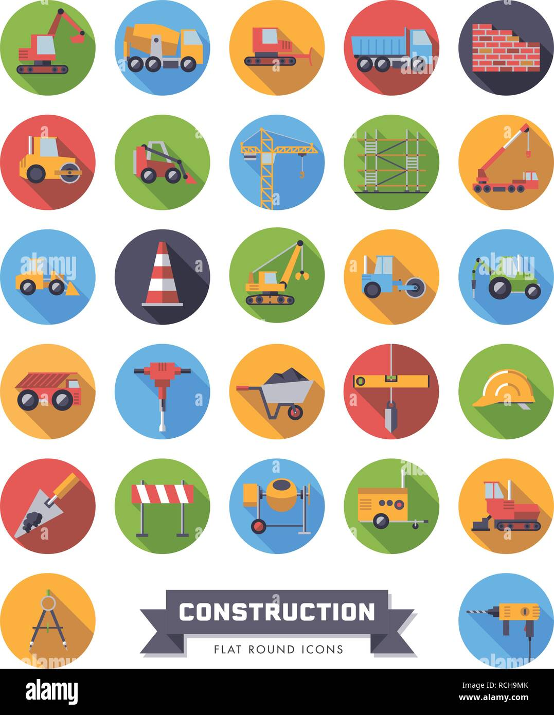 Flat design long shadow round construction industry and tools vector icons set - Stock Vector
