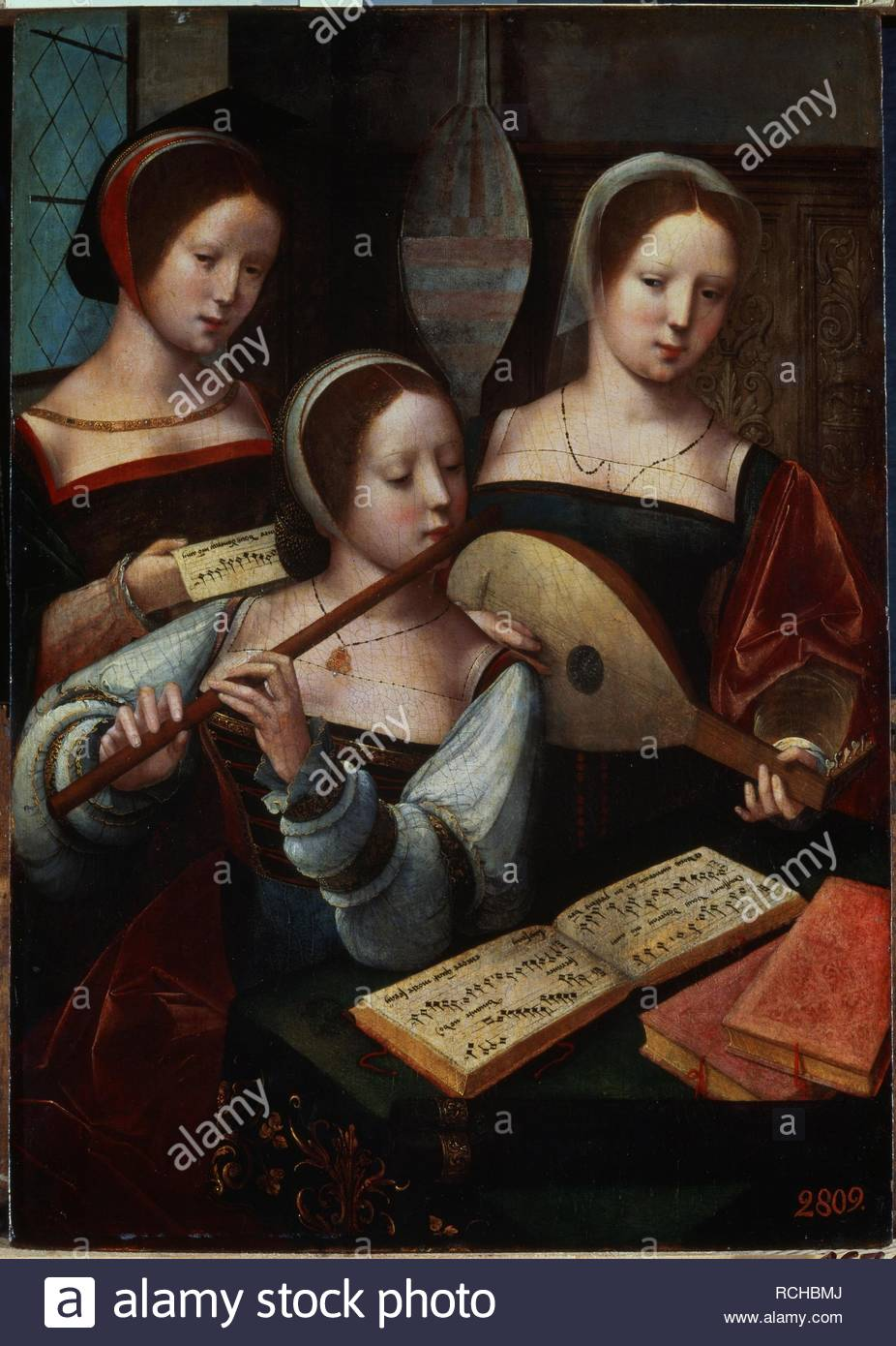 Musicians. Museum: State Hermitage, St. Petersburg. Author: Master of the Female Half-Lengths. - Stock Image