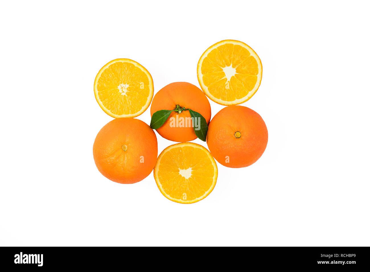 Fresh orange citrus fruits and slice. Orange citrus fruits and slice on isolated background. Delicious tasty and healthy oranges on white background - Stock Image