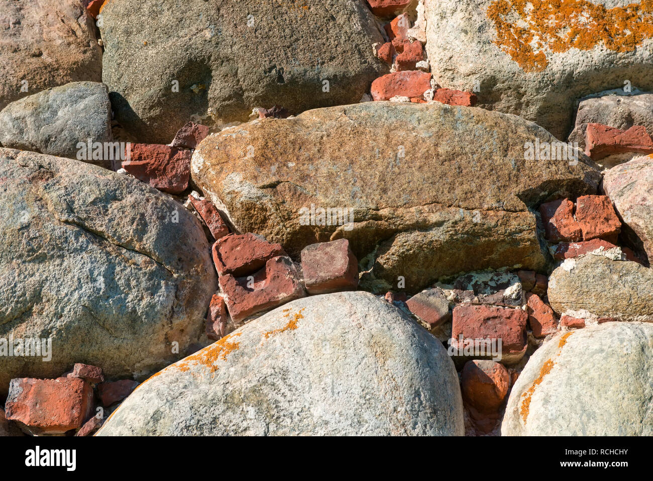 Part of the wall of the Spaso-Preobrazhensky Solovetsky Monastery. Solovetsky archipelago, White Sea, Russia Stock Photo