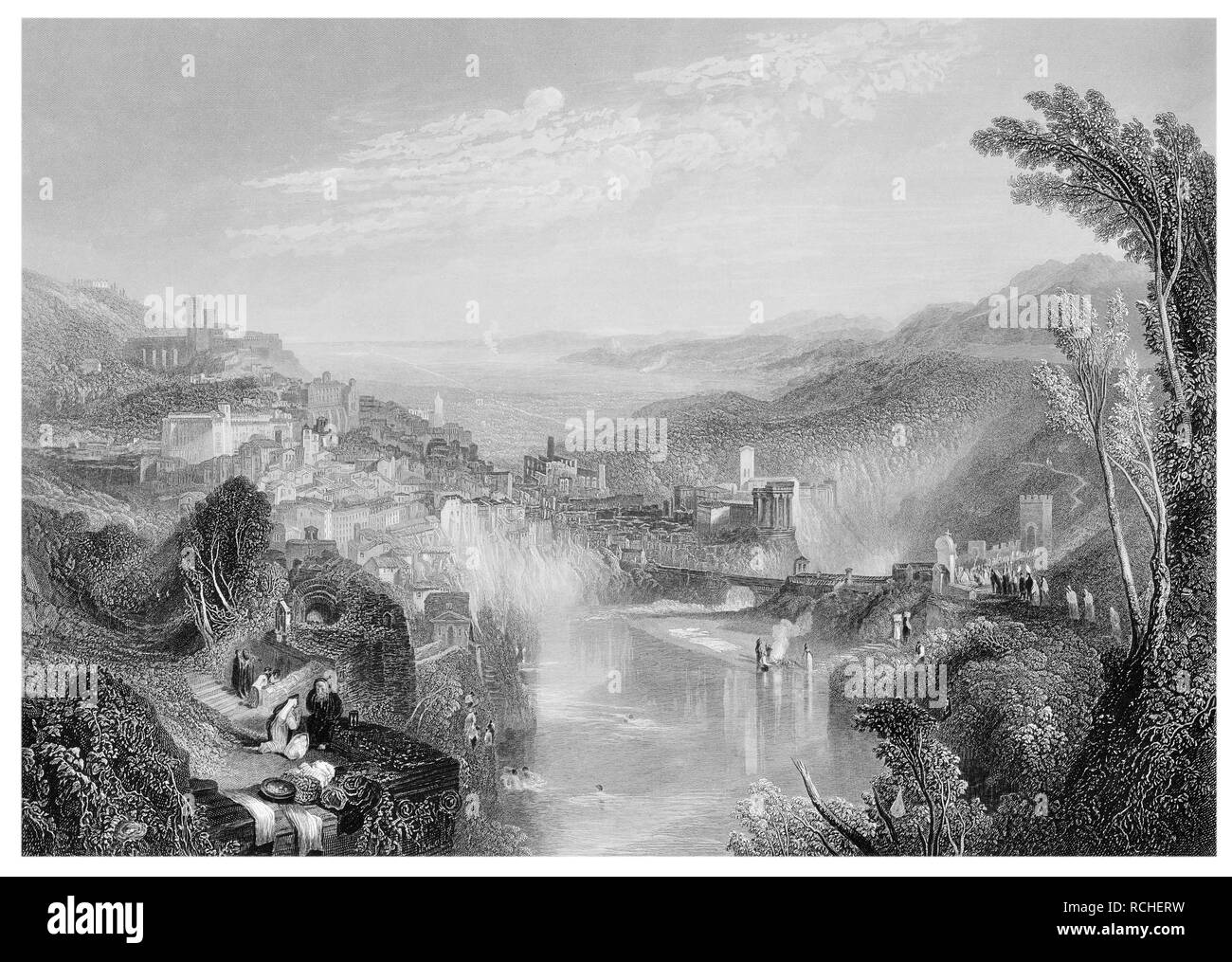 J.M.W Turner Modern Italy engraved by W.Miller - Stock Image