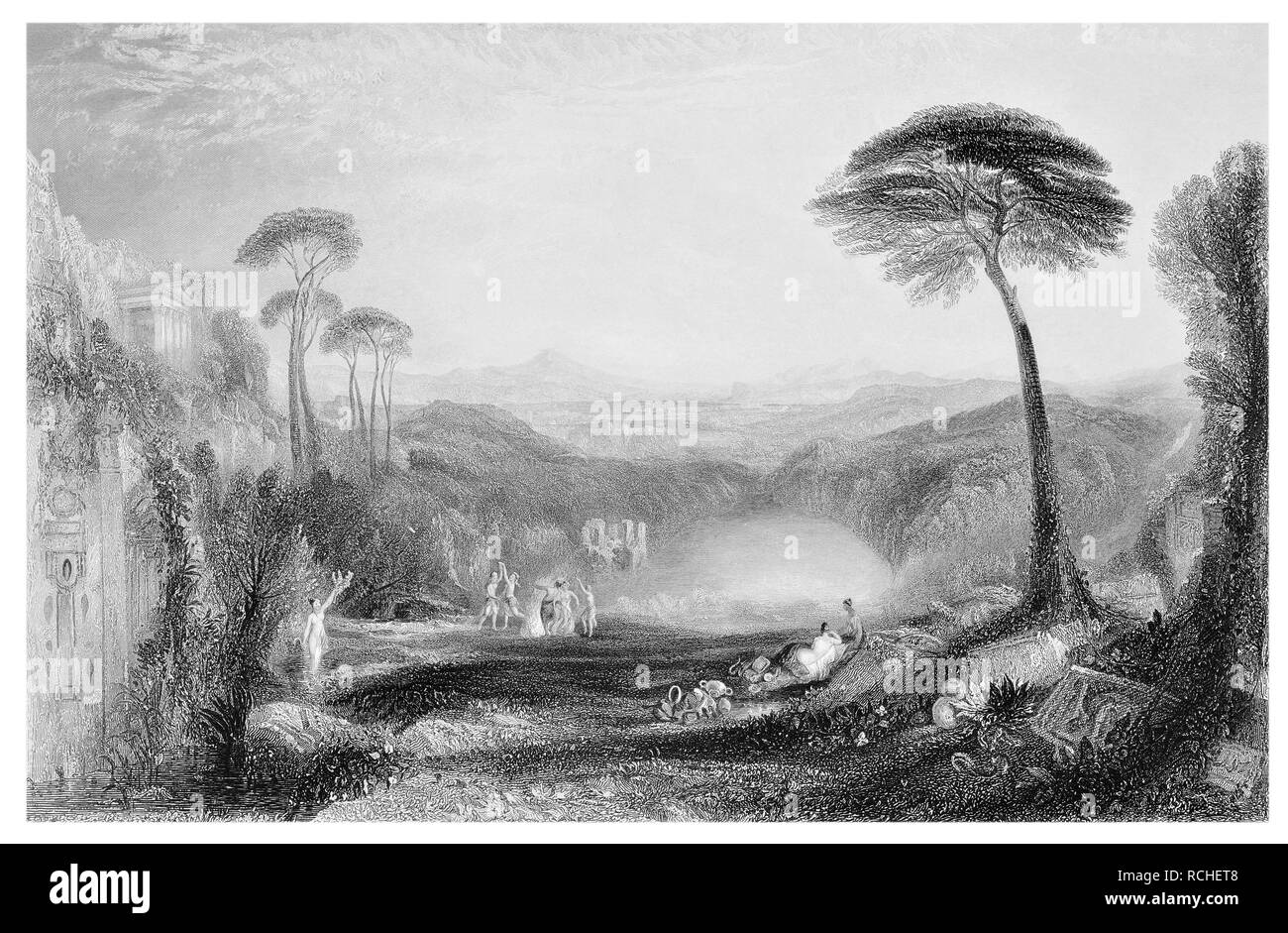 J.M.W Turner The Golden Bough engraved by T. A. Prior - Stock Image