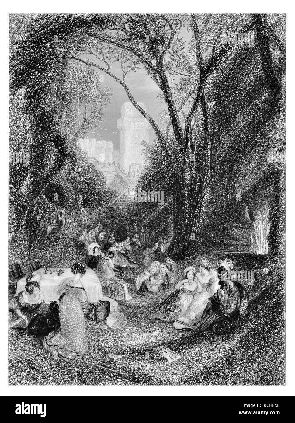 J.M.W Turner The Birdcage a scene from Boccaccio engraved by C.H.Jeens - Stock Image