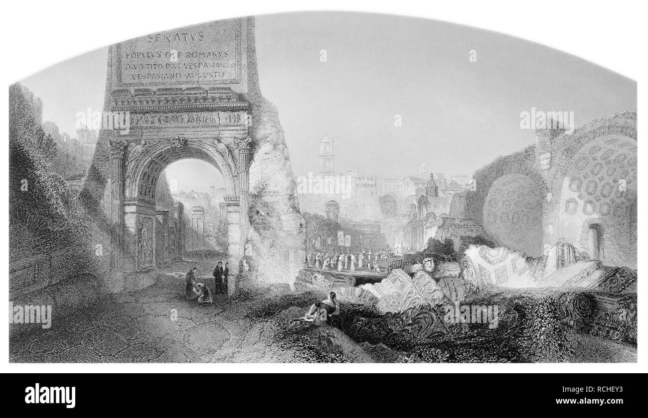 J.M.W Turner The arch of Titus Rome engraved by E.Challis - Stock Image