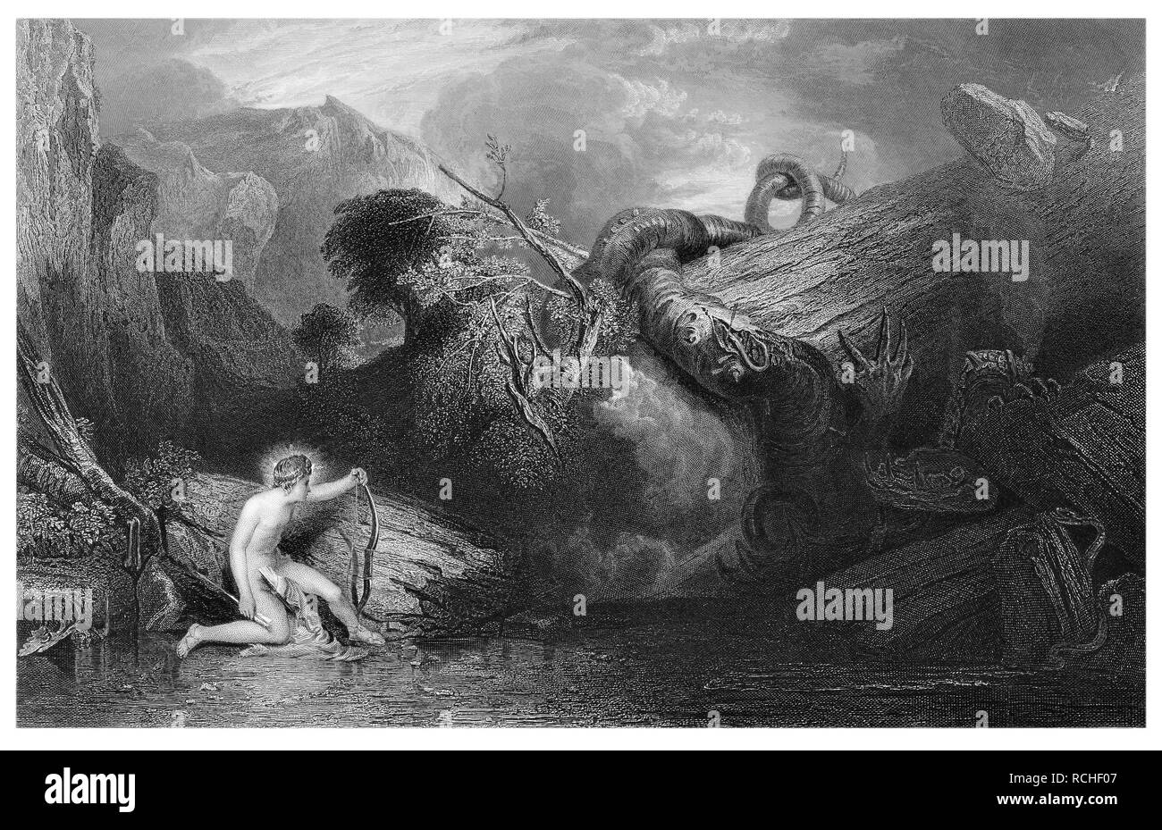 J.M.W Turner Apollo killing the python engraved by L.Stocks - Stock Image
