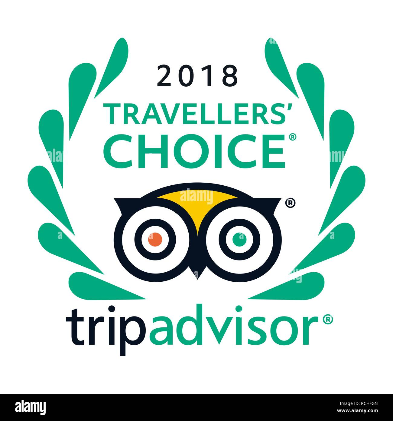 2018 Travellers Choice Tripadvisor logo icon vector - popular service with rating of hotels and attractions for travel. - Stock Vector