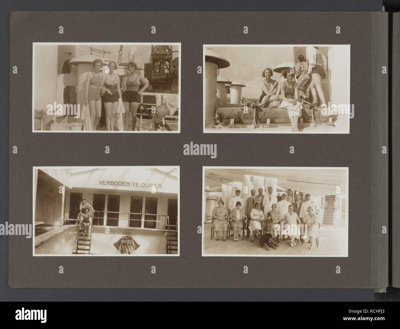 Badpak 36.Albumblad Met Vier Fotos Linksboven Drie Dames In Badpak Bij Het