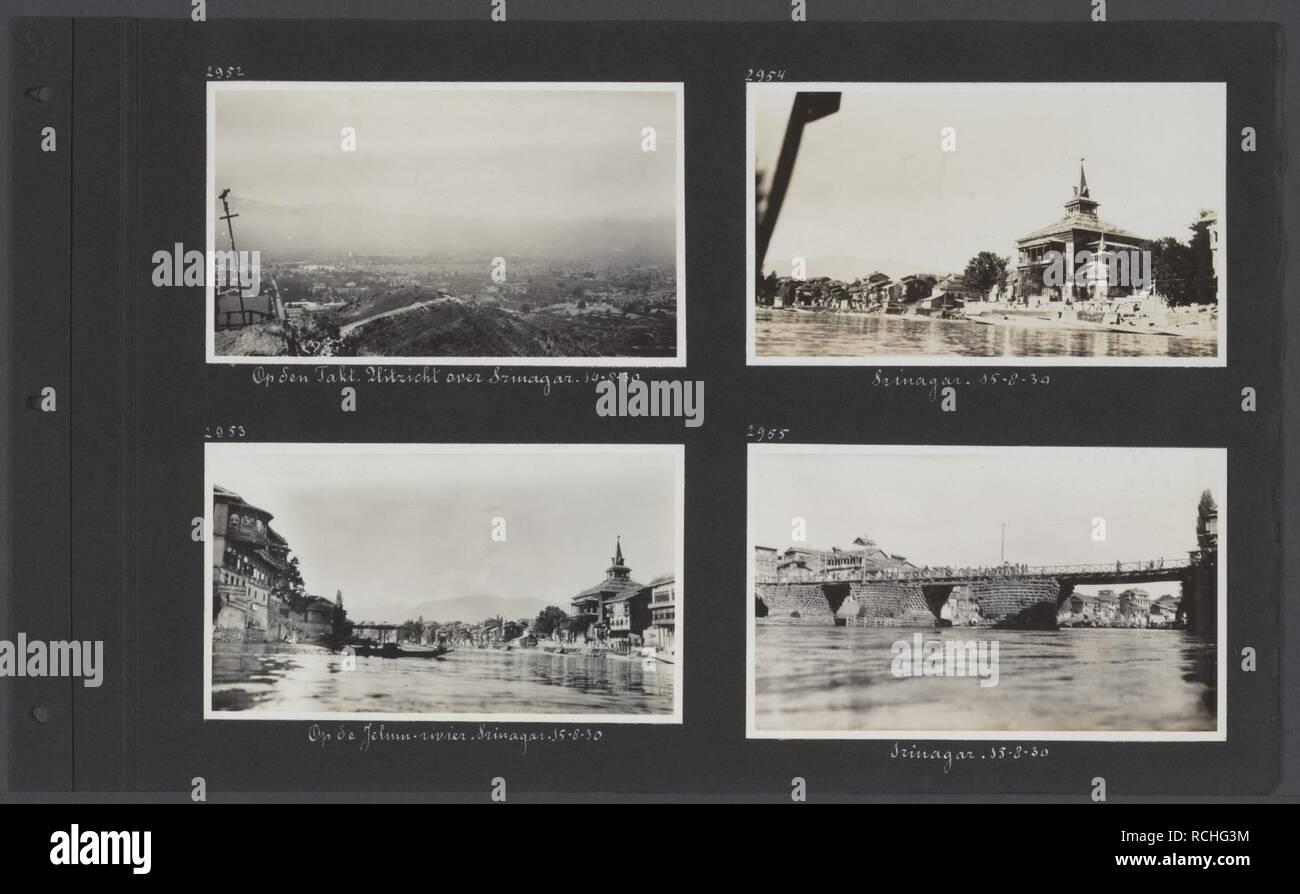 Albumblad met vier fotos. Linksboven uitzicht op Srinagar vanaf de Takt links, Bestanddeelnr 34 71. - Stock Image