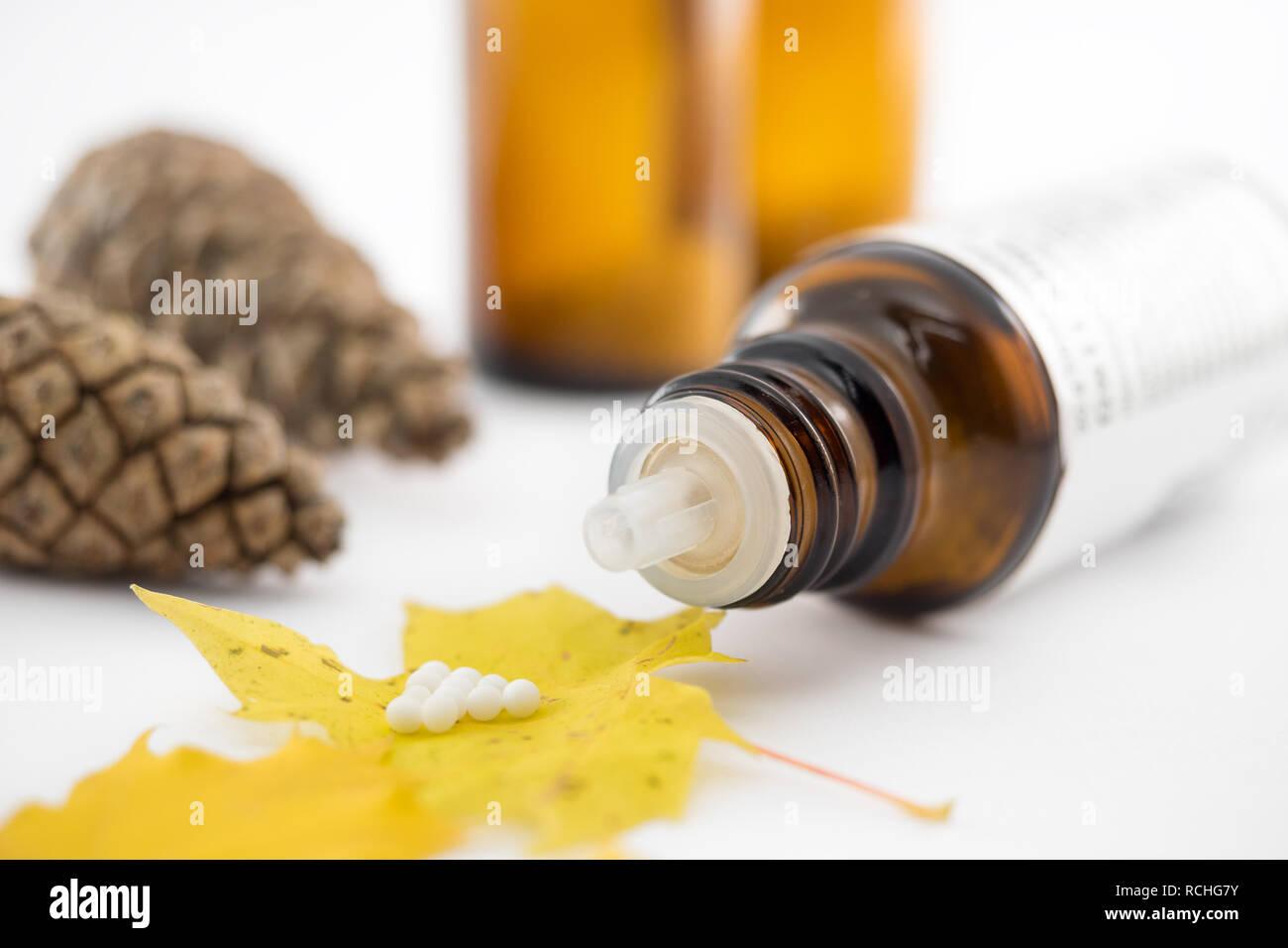 Homöopathische Heilmittel Globuli Stock Photo