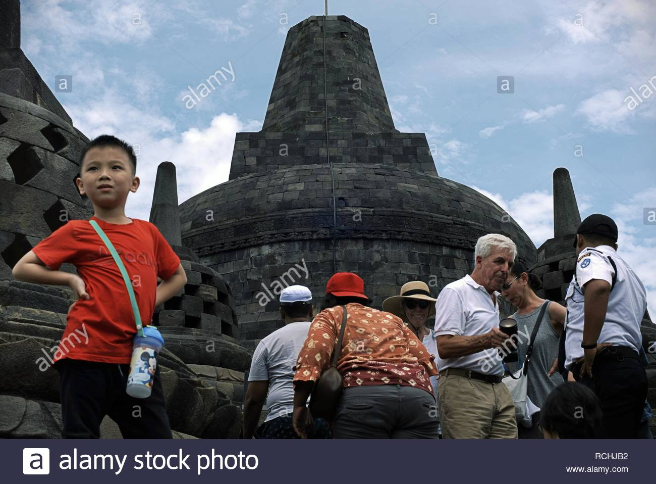 Tourists at Borobudur Temple in Central Java province of Indonesia.  © Reynold Sumayku - Stock Image