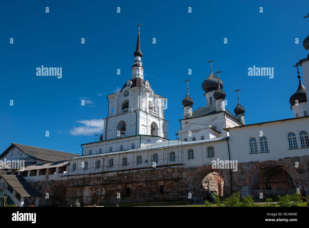 SOLOVKI, REPUBLIC OF KARELIA, RUSSIA - JUNE 27, 2018: In the Spaso-Preobrazhensky Solovetsky Monastery. Russia, Arkhangelsk region, Primorsky district Stock Photo