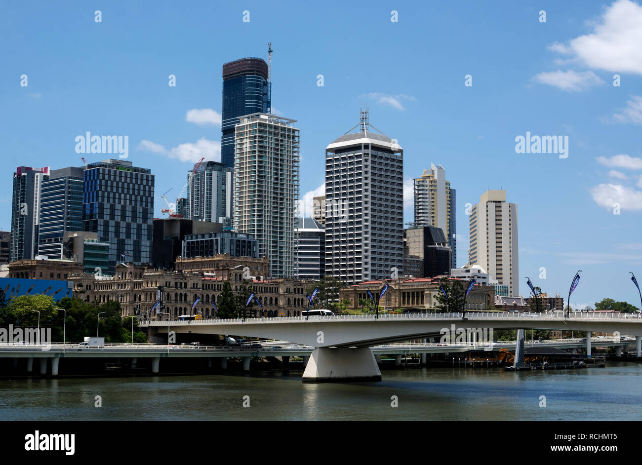 City centre and Victoria Bridge, Brisbane, Queensland, Australia - Stock Image