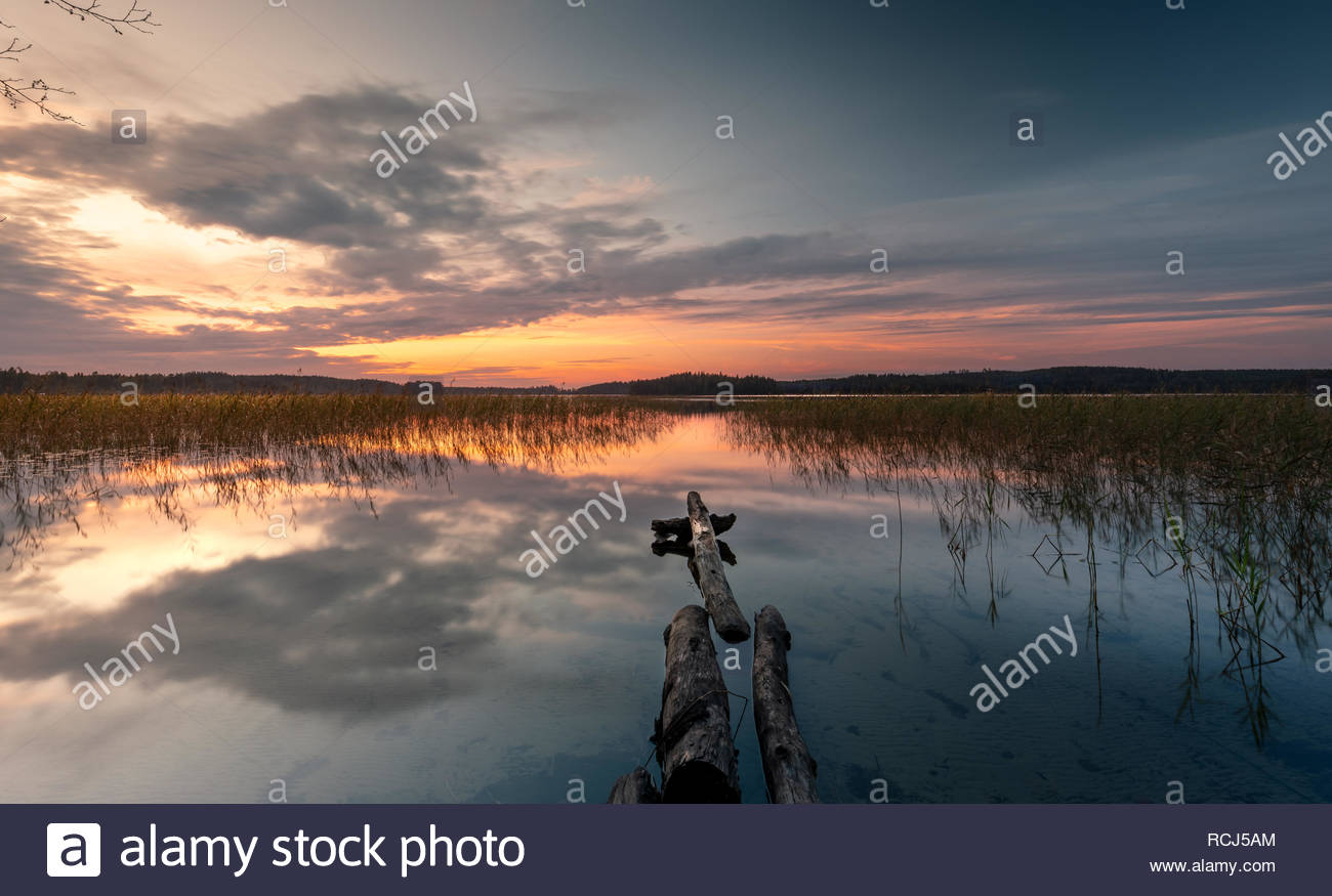 Scenic landscape evening light, Lake view Finland - Stock Image