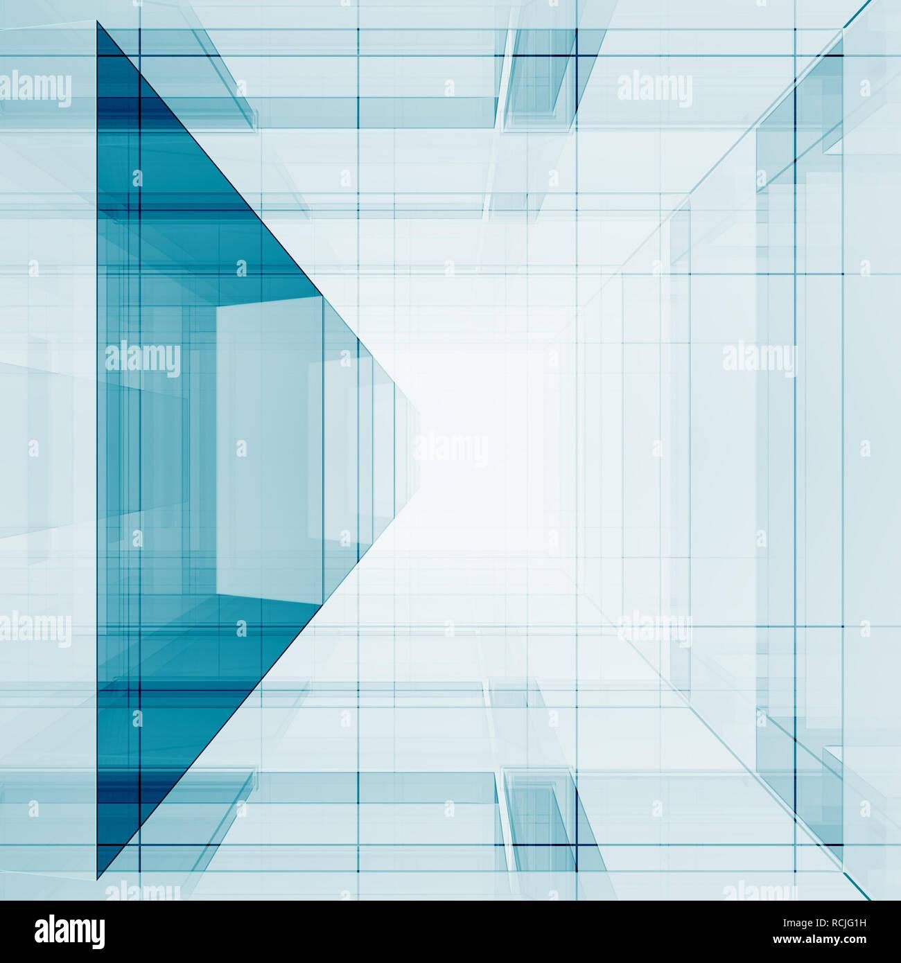 Blue transparent 3d rendering - Stock Image